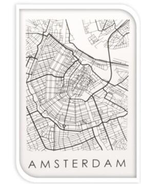 WALL ART MAP ON GLASS AMSTERDAM
