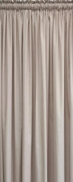 CURTAIN CUSHION COVERS & TIE BACKS TAUPE