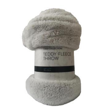 FLEECE THROW NATURAL TEDDY 125X150CM