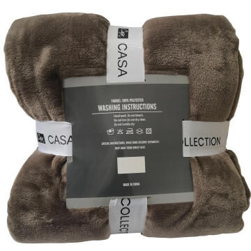 THROW MINK TAUPE 200X200
