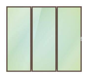 Folding Door Aluminium 3 Panel Bronze-Right Hand Opening-Open out-w2390xh2090mm