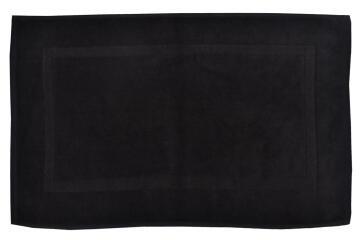 Bath mat woven rectangle cotton SENSEA Terry black 50X80CM