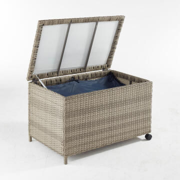 Garden Storage Cushion Box Naterial Daveport SIZE:95X60X57CM Braided resin Grey Color open by Gas-spring with 2 wheels