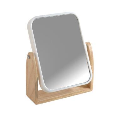 Mirror plastic and rubber wood frame SENSEA Scandi shinny white