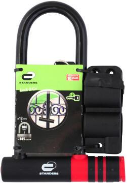 Padlock u type black 180x135mm standers