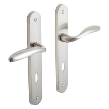 2 PLATES AGATHE KEY 7MM, ZINC ALLOY, SATIN NICKEL - HANDLE LENGTH: 118MM, PLATE: 230X40MM, PACKAGE: CARDBOARD, SPINDLE:7X7MM