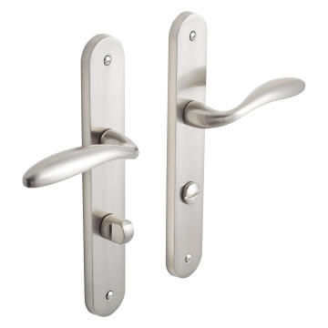 Door handles on plate thumbturn entry satin nickel finish agathe inspire