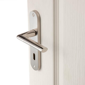 Door handles on plate key entry satin nickel finish sophie 165mm inspire