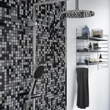 Mosaic tile reconstituted glass black & grey pool mix 32.7cm x 32.7cm