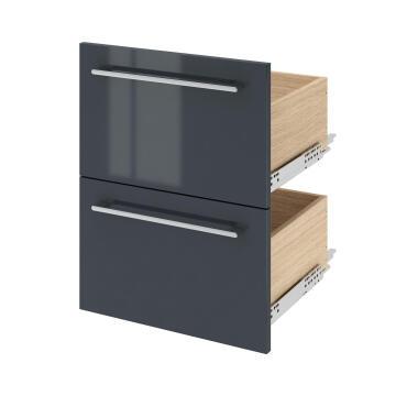 Double basin cabinet 2 drawer SENSEA Remix Paris Grey 46x45x67cm