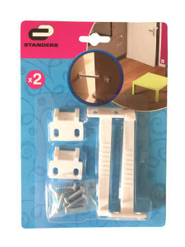 Door safety catches white plastic 2pc standers