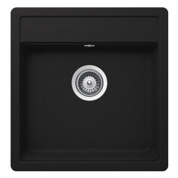 Kitchen sink 1 square bowl Frasa Rezulta 50 stonesilk black 510mmx490mm