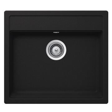 Kitchen sink 1 square bowl and 1 drainer Frasa Rezulta 60 stonesilk black 510mmx570mm