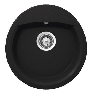 Kitchen sink 1 round bowl Frasa Latifa 45 stonesilk black 490mmx470mm