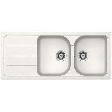 Kitchen sink 2 square bowls and 1 drainer Frasa Crucial 80D stonesilk white 500mmx1160mm