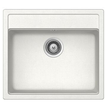 Kitchen sink 1 square bowl and 1 drainer Frasa Rezulta 60 stonesilk white 510mmx570mm