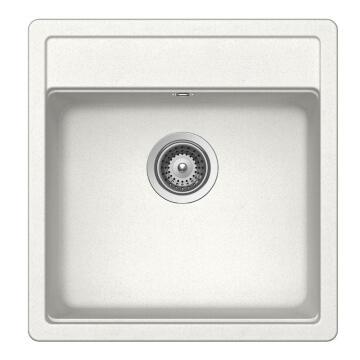 Kitchen sink 1 square bowl Frasa Rezulta 50 stonesilk white 501mmx490mm