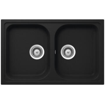 Kitchen sink 2 square bowls Frasa Momento 80 stonesilk black 500mmx790mm