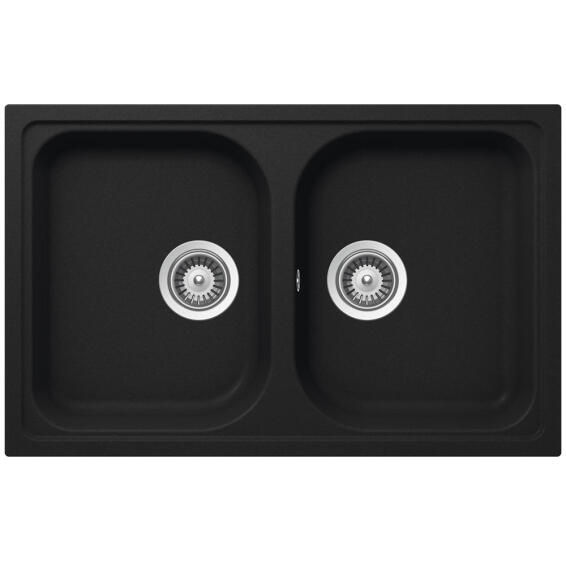 Kitchen Sink 2 Bowls Stone Composite Frasa Momento 80 Black 500 X 790mm Leroy Merlin South Africa