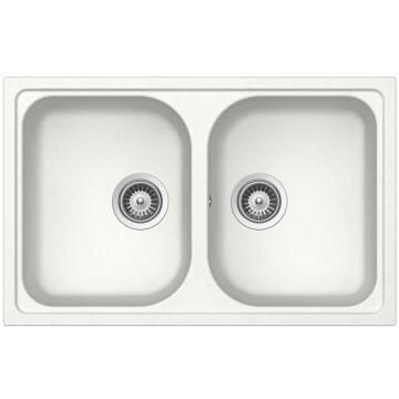 Kitchen sink 2 square bowls Frasa Momento 80 stonesilk white 500mmx790mm