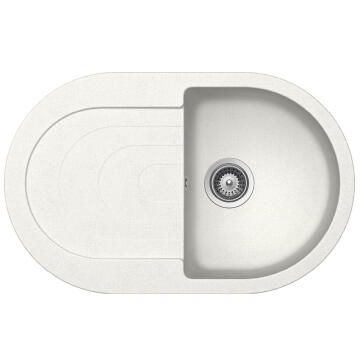 Kitchen sink 1 deep bowl 1 drainer stone composite drop in FRASA COSMO white 500 x 790mm