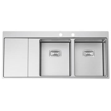 Kitchen sink 2 square bowls and 1 drainer Frasa Maia 80 D right stainless steel 520mmx1160mm
