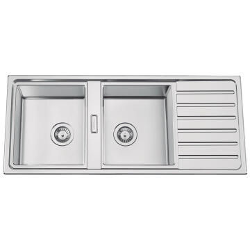 Kitchen sink 2 square bowls and 1 drainer Frasa Taske 80 D stainless steel 500mmx1160mm