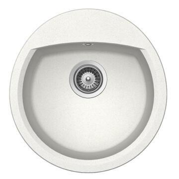 Kitchen sink 1 round bowl Frasa Latifa 45 stonesilk white 490mmx470mm