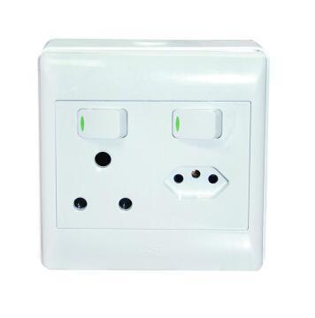 Wall mounted socket 100x100mm 1x3pin - 1x3pin