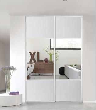 Wardrobe sliding door allure 1/2 mirror white H250cm x W62cm
