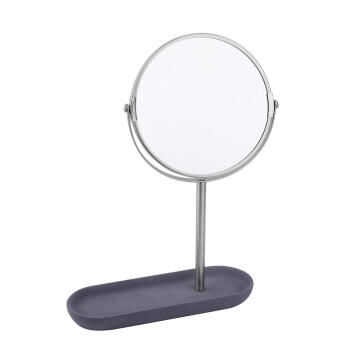 Mirror with cement base stailess steel stand SENSEA Apollon grey