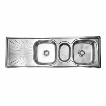 Kitchen sink 2sq bowls 1d d/i CAM ss 1360cmx460cm incl 90mm DC13646L/2.76