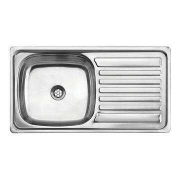 Kitchen sink 1 bowl 1 drainer stainless steel sit on CAM AFRICA 750 x 400mm