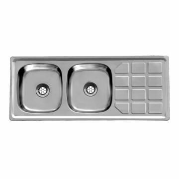 Kitchen sink 2sq bowls 1d s/o CAM ss 120cmx48cm SEB excl 40mm DC1248S