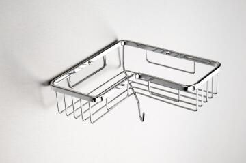Corner soap holder with hook wall mounted chrome
