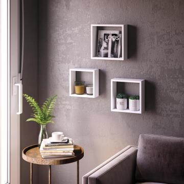 Set of 3 cubed shelves white 24x10/27x10/30x10cm,,,,,