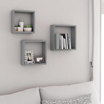Set of 3 cubed shelves grey 24x10/27x10/30x10cm,,,,,
