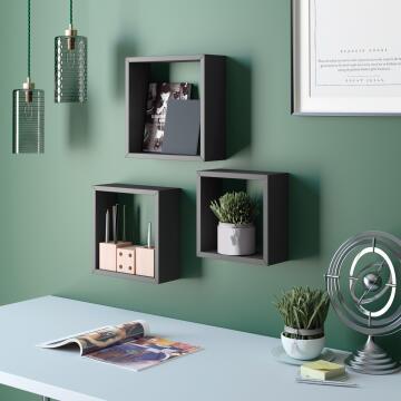 Set of 3 cubed shelves black 24x10/27x10/30x10cm