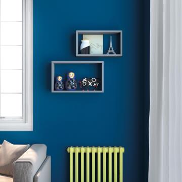 Set of 2 rectangle shelves grey 45x27x11,5/40x22x11,5cm