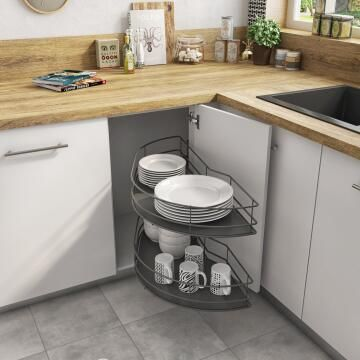 Kitchen sliding wire basket left corner angle cabinet 2 level grey 58cm X106cm X76.8cm
