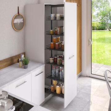 Kitchen sliding wire basket long pantry cabinet 1 level grey 58cm X 60cm X 214.4cm