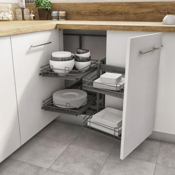 Kitchen sliding wire basket right corner angle cabinet grey 58cm X106cm X76.8cm
