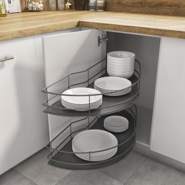 Kitchen sliding wire basket right corner angle cabinet 2 level grey 58cm X106cm X76.8cm