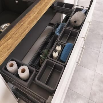 Kitchen Pull-out under-sink drawer 120cm with storage box