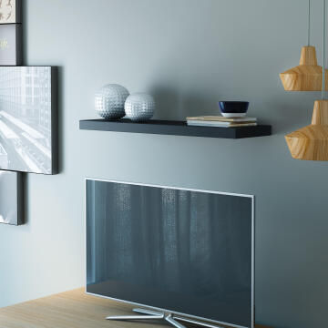 Floating shelf black 80x23cm