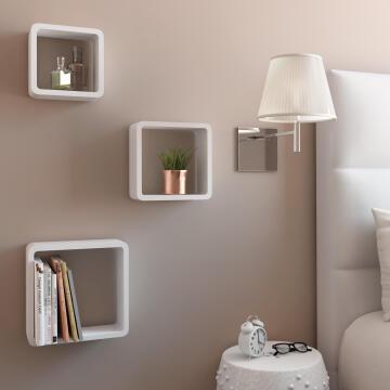Set of 3 cubed shelves white 20x10/24x10/28x10cm,,,,,