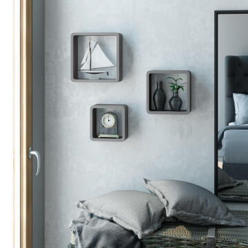 Set of 3 cubed shelves grey 20x10/24x10/28x10cm,,,,,