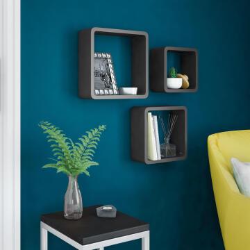 Set of 3 cubed shelves black 20x10/24x10/28x10cm