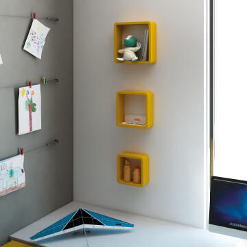 Set of 3 cubed shelves yellow 20x10/24x10/28x10cm