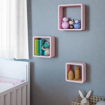 Set of 3 cubed shelves pink 20x10/24x10/28x10cm